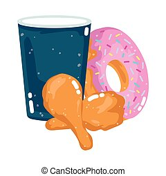 fast food menu restaurant unhealthy disposable cup donut and chicken