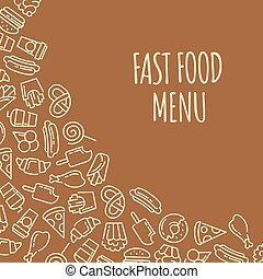 Fast food menu. Set of cartoon vector background.. french...