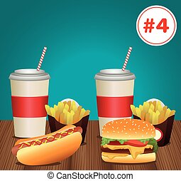 fast food menu template with combo meal number four