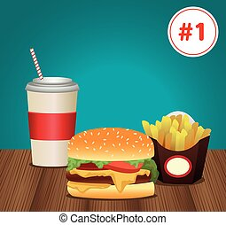 fast food menu template with combo meal number one