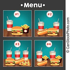 fast food menu template with combos meal numbers