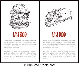 Fast Food Monochrome Poster Vector Illustration