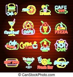 Fast food neon shop sign icons set, flat style