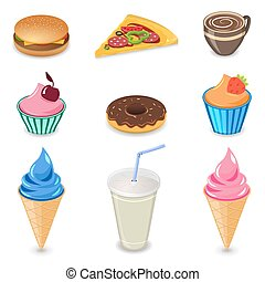 Fast food objects, and all sorts of sweets and food items.