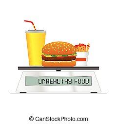 fast food on digital scales illustration