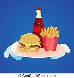 Fast food on tray.