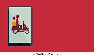 Fast food online delivery HD animation