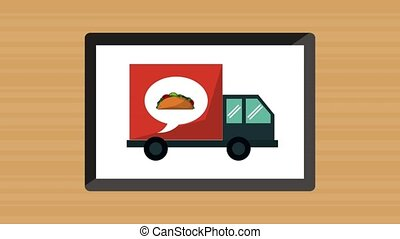 Fast food online delivery HD animation - Delivering fast...