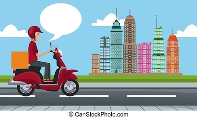 Fast food online delivery on scooter HD animation - Delivery...