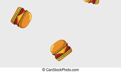 fast food online - falling burger tasty fast food