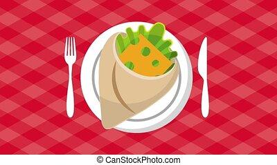 fast food online - fast food wrap bun meat tomato lettuce...