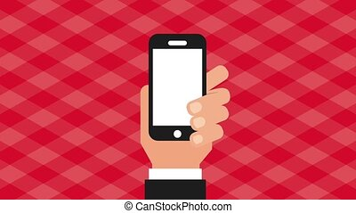 fast food online - hand holding smartphone order checkmark...