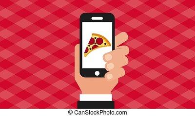 fast food online - hand holds smartphone ordering burger...