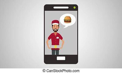 Fast food online order from smartphone HD animation