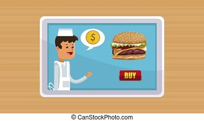 Fast food online order HD animation