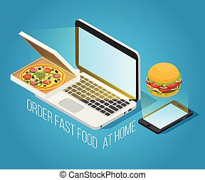 Fast Food Order At Home Isometric Concept