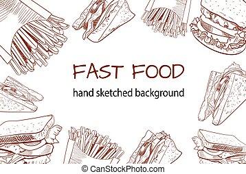 Fast food outline handdrawn VECTOR background