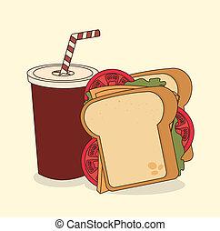 fast food over cream background vector illustration