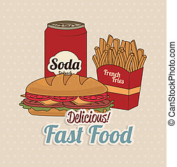 fast food over dotted background vector illustration