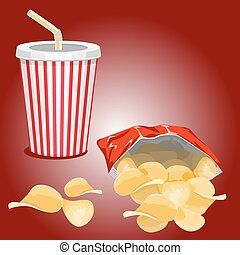 fast food picture - Potato chips and a glass with a drink on...
