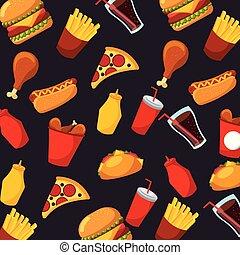fast food pizza hot dog soda sauce seamless pattern