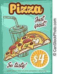 Fast food pizza menu vector sketch poster - Pizza price card...