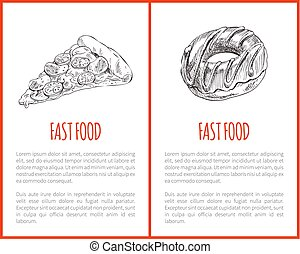 Fast Food Pizza Posters Set Vector Illustration