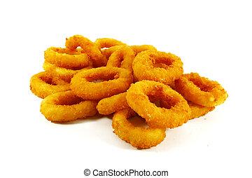 fast food, popolare, piatto lato, di, anelli cipolla