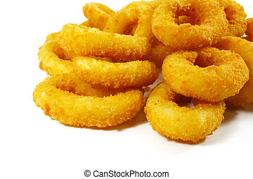 Fast Food Popular Side Dish of Onion Rings on White...