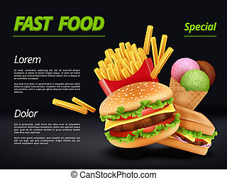 Fast food poster. Burger ingredients beef tomato cheese sandwich meal retro advertizing placard vector template