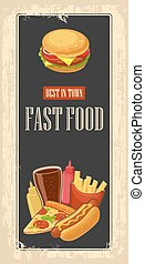 Fast food poster with vintage background. Set icon. Glass of cola, hamburger, pizza, hotdog, fries potato in red paper box, bottles of ketchup and mustard. Vector flat illustration.