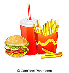 Fast food products. - Group of fast food products.