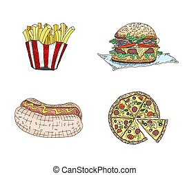 fast food products pizza hot dog sandwich. sketch