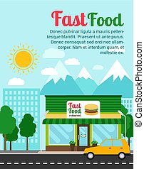 Fast food restaurant advertising banner with shop building...