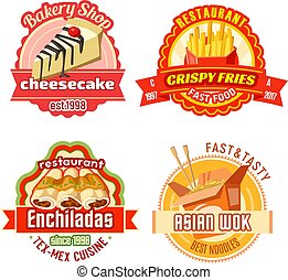 Fast food restaurant and bakery shop label design