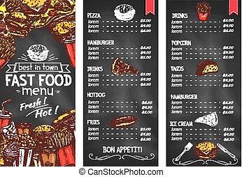 Fast food restaurant chalkboard menu template