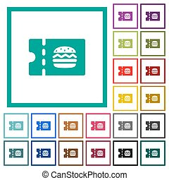 Fast food restaurant discount coupon flat color icons with...