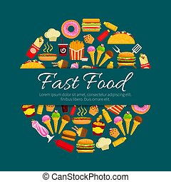 Fast food restaurant dishes round badge design