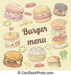 Fast Food Restaurant Hand Drawn Menu Design with Burgers. Brochure Template Design. Vector illustration
