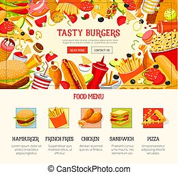 Fast food restaurant lunch menu web banner design