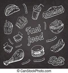 Fast Food Restaurant Menu Blackboard. Hand Drawn Sketch Burger French Fries Hot Dog. Vector illustration