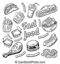 Fast Food Restaurant Menu. Hand Drawn Sketch Burger French Fries Hot Dog. Vector illustration