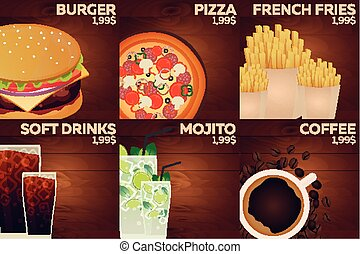 Fast food restaurant menu on wood background. Burger, pizza, french fries, soda, mojito and coffee.