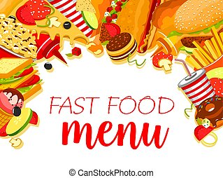 Fast food restaurant menu with burger and drink