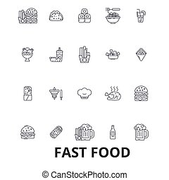 Fast food, restaurant, pizza, hamburger, burger, junk, hot dog, french fries line icons. Editable strokes. Flat design vector illustration symbol concept. Linear signs isolated