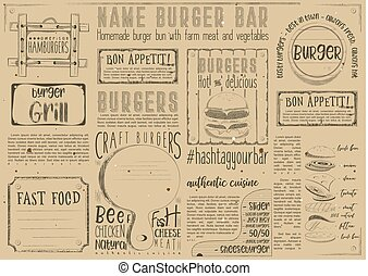 Fast Food Restaurant Placemat - Fast Food - Burgers - Drawn...