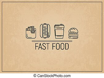 Fast Food Restaurant Placemat - Fast Food - Fries, Hot Dog,...