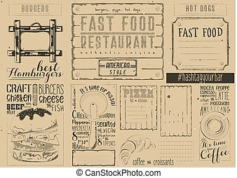 Fast Food Restaurant Placemat - Fast Food - Pizza, Coffee,...