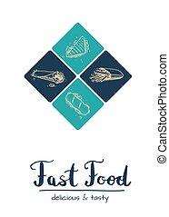 Fast food restaurant vintage menu design