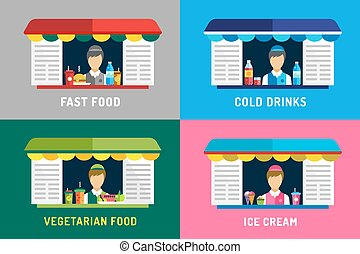 Fast food restaurants vector objects. Water bottle, juice, eat and ice cream, hamburger, hot dogs or mobile restaurant, lunch time, man silhouette, vegetarian, eco.